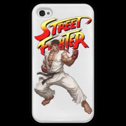 """Чехол для iPhone 4 глянцевый, с полной запечаткой """"Street Fighter Ryu white"""" - компьютерные игры, файтинг, видеоигры, street fighter, стрит файтер"""