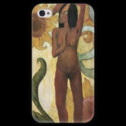 """Чехол для iPhone 4 глянцевый, с полной запечаткой """"Карибская женщина, или Обнаженная с подсолнухами"""" - картина, поль гоген"""