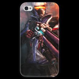 """Чехол для iPhone 4 глянцевый, с полной запечаткой """"Soldier 76"""" - blizzard, близзард, overwatch, овервотч, солдат 76"""