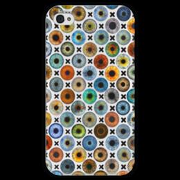 """Чехол для iPhone 4 глянцевый, с полной запечаткой """"Найди свой цвет глаз"""" - глаз, глаза, много глаз, найди свой цвет глаз, глазные радужки"""
