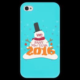 """Чехол для iPhone 4 глянцевый, с полной запечаткой """"С Новым годом!"""" - праздник, новый год, дизайн, авторский, денис гесс"""