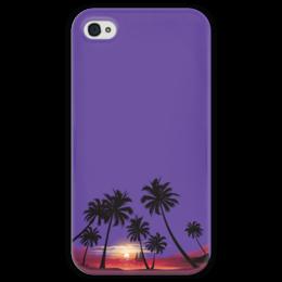 """Чехол для iPhone 4 глянцевый, с полной запечаткой """"Острова в океане"""" - море, закат, яхта, острова, пальмы"""