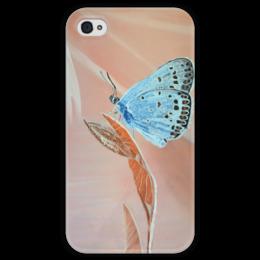 """Чехол для iPhone 4 глянцевый, с полной запечаткой """"Бабочка"""" - бабочка, цветы, природа, butterfly, blue"""