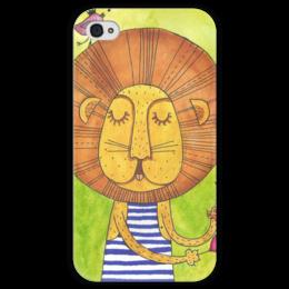 """Чехол для iPhone 4 глянцевый, с полной запечаткой """"Лев Бонифаций в тельняжке"""" - лев, акварель, грива, бонифаций, тельняжка"""
