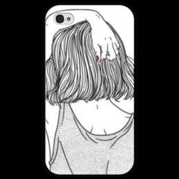 """Чехол для iPhone 4 глянцевый, с полной запечаткой """"Девушка"""" - девушка, рисунок, волосы, hair"""