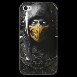 """Чехол для iPhone 4 глянцевый, с полной запечаткой """"Scorpion MK"""" - скорпион, mortal kombat, mk, мортал комбат, видеоигры"""