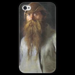 """Чехол для iPhone 4 глянцевый, с полной запечаткой """"Полесовщик (картина Крамского)"""" - картина, крамской"""