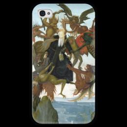 """Чехол для iPhone 4 глянцевый, с полной запечаткой """"Мучения святого Антония"""" - картина, микеланджело"""