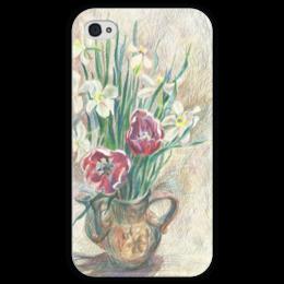 """Чехол для iPhone 4 глянцевый, с полной запечаткой """"Весенний букет"""" - арт, цветы, рисунок, настроение, весна, ярко, графика, девушке, иллюстрация, букет"""