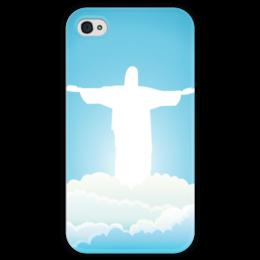 """Чехол для iPhone 4 глянцевый, с полной запечаткой """"Иисус Христос"""" - вера, религия, иисус, бог"""