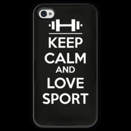 "Чехол для iPhone 4 глянцевый, с полной запечаткой ""Keep calm and love sport"" - спорт, пауэрлифтинг, keep calm"
