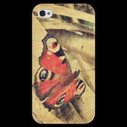 "Чехол для iPhone 4 глянцевый, с полной запечаткой ""Бабочка"" - бабочка, лето, винтаж, сепия"