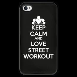 """Чехол для iPhone 4 глянцевый, с полной запечаткой """"Keep calm and love sport"""" - спорт, keep calm, workout, streetworkout"""
