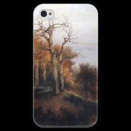 """Чехол для iPhone 4 глянцевый, с полной запечаткой """"Осенний лес. Кунцево. (Проклятое место)"""" - картина, саврасов"""