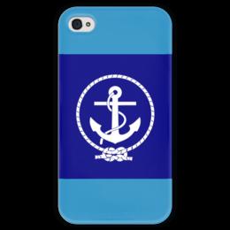 """Чехол для iPhone 4 глянцевый, с полной запечаткой """"Морской разведчик"""" - море, якорь, канат"""
