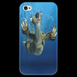 """Чехол для iPhone 4 глянцевый, с полной запечаткой """"Ледниковый период (Сид под водой)"""" - под водой, ленивец, сид, ice age, ледниковый период"""