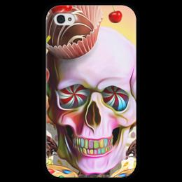 """Чехол для iPhone 4 глянцевый, с полной запечаткой """"Sweet Skull"""" - skull, череп, сладости, печенье, пирожное"""