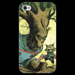 """Чехол для iPhone 4 глянцевый, с полной запечаткой """"Comics Art Series: Стражи Галактики """" - енот, марвел, superhero, стражи галактики, грут"""