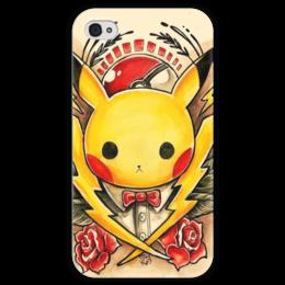 """Чехол для iPhone 4 глянцевый, с полной запечаткой """"Pikachu"""" - пикачу, pikachu"""