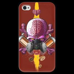 """Чехол для iPhone 4 глянцевый, с полной запечаткой """"Граффити Арт"""" - skull, череп, граффити, краска, graffiti"""