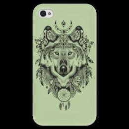 """Чехол для iPhone 4 глянцевый, с полной запечаткой """"Тотем. Волк"""" - волк, графика, тотем"""