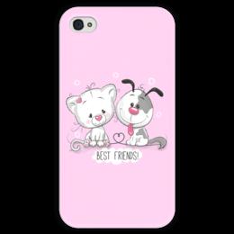 """Чехол для iPhone 4 глянцевый, с полной запечаткой """"Друзья"""" - мультяшки, друзья, рисунок, щенок, котёнок"""