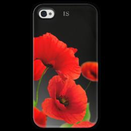 """Чехол для iPhone 4 глянцевый, с полной запечаткой """"Красные маки """" - цветы, природа, маки, красные маки"""