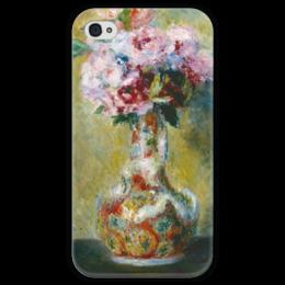 """Чехол для iPhone 4 глянцевый, с полной запечаткой """"Букет в вазе"""" - картина, ренуар"""