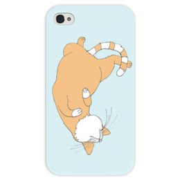 """Чехол для iPhone 4 глянцевый, с полной запечаткой """"Рыжий кот."""" - кот, новый год, зима, cat, сон, апельсин, иллюстрация, тепло, sleeping, уют"""