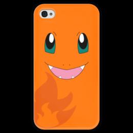 """Чехол для iPhone 4 глянцевый, с полной запечаткой """"Чармандер"""" - нинтендо, nintendo, charmander, pokemon go, покемон го"""
