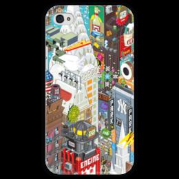"Чехол для iPhone 4 глянцевый, с полной запечаткой ""Нью Йорк"" - нью йорк, new york city, nyc, ny"