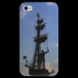 """Чехол для iPhone 4 глянцевый, с полной запечаткой """"Корабль"""" - корабль, петр первый, петр i"""