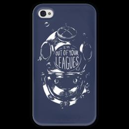 """Чехол для iPhone 4 глянцевый, с полной запечаткой """"Синий водолаз"""" - sea, водолаз, iphone4, deep, diver"""