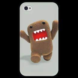 "Чехол для iPhone 4 глянцевый, с полной запечаткой ""Домо-Кун нападает"" - domo, домо-кун, домо кун"