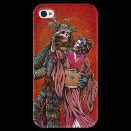 """Чехол для iPhone 4 глянцевый, с полной запечаткой """"Dead Samurai"""" - самурай, япония, japan, кимоно"""