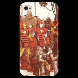 """Чехол для iPhone 4 глянцевый, с полной запечаткой """"Comics Art Series: Ironman"""" - рисунок, superhero, железный человек, тони старк, ironman"""