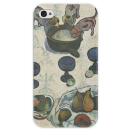 """Чехол для iPhone 4 глянцевый, с полной запечаткой """"Натюрморт с тремя щенками"""" - картина, поль гоген"""