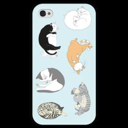 """Чехол для iPhone 4 глянцевый, с полной запечаткой """"Спящие котики"""" - сон, дом, коты, графика, cats, sleeping, уют, спящие коты"""
