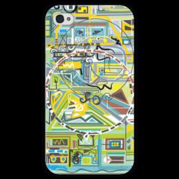 """Чехол для iPhone 4 глянцевый, с полной запечаткой """"Березка"""" - арт, абстракция, фигуры, бирюзовый"""