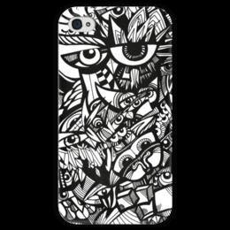 """Чехол для iPhone 4 глянцевый, с полной запечаткой """"Совиный рай"""" - сова, филин, совы, owl, owls, black&white"""