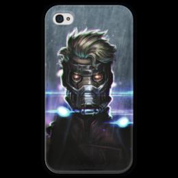 """Чехол для iPhone 4 глянцевый, с полной запечаткой """"Star lord"""" - комиксы, марвел, стражи галактики, guardians of the galaxy, звездный лорд"""