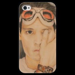 """Чехол для iPhone 4 глянцевый, с полной запечаткой """"Джони Депп """" - актер, johnny depp, джонидепп, depp, мойрисунок"""