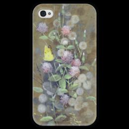 """Чехол для iPhone 4 глянцевый, с полной запечаткой """"Пластиковый чехол """"Клеверный луг"""" для iPhone 4/4S"""" - бабочка, лето, клевер, summer, butterfly, пейзаж, трава, одуванчик, разнотравье"""