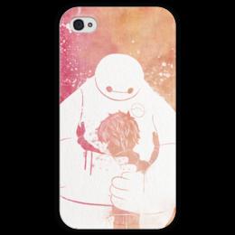 """Чехол для iPhone 4 глянцевый, с полной запечаткой """"Беймакс"""" - мультик, город героев, baymax, big heroe 6"""