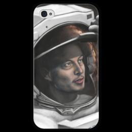 "Чехол для iPhone 4 глянцевый, с полной запечаткой ""SpaceX"" - космос, вселенная, thespaceway, spacex, маск"
