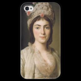 """Чехол для iPhone 4 глянцевый, с полной запечаткой """"Портрет Зои Гики"""" - картина, рослин"""