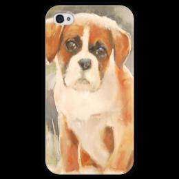 """Чехол для iPhone 4 глянцевый, с полной запечаткой """"boxer puppy"""" - dog, щенок, боксёр"""
