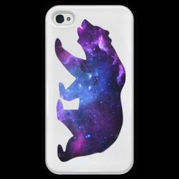 """Чехол для iPhone 4 глянцевый, с полной запечаткой """"Space animals"""" - space, bear, медведь, космос, астрономия"""