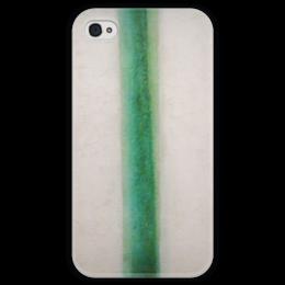"""Чехол для iPhone 4 глянцевый, с полной запечаткой """"Зелёная полоса (картина Розановой)"""" - картина, розанова"""