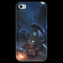 "Чехол для iPhone 4 глянцевый, с полной запечаткой ""Mortred у костра"" - dota, dota2, assassin, mortred, phantom"